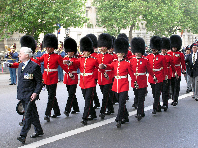 file bearskin hats worn by irish guards on a march to london 001 jpg
