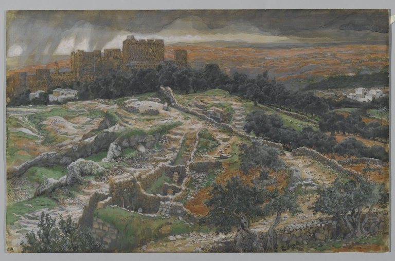 File:Reconstruction of Golgotha and the Holy Sepulchre Seen from the Walls of the Judicial Gate - James Tissot.jpg