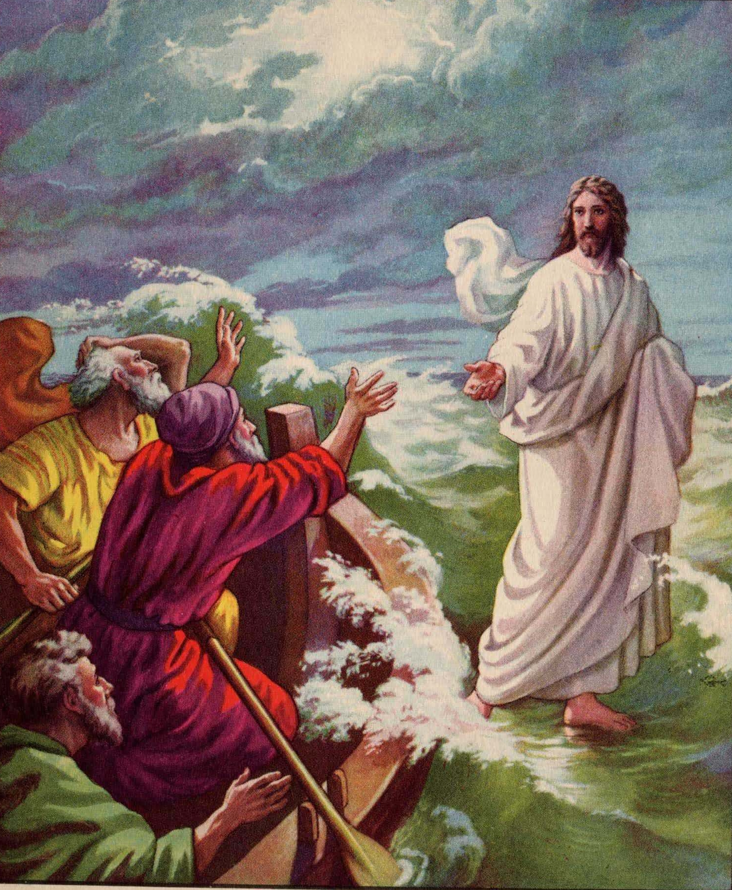 Jesus Walks On Water Coloring Page #3