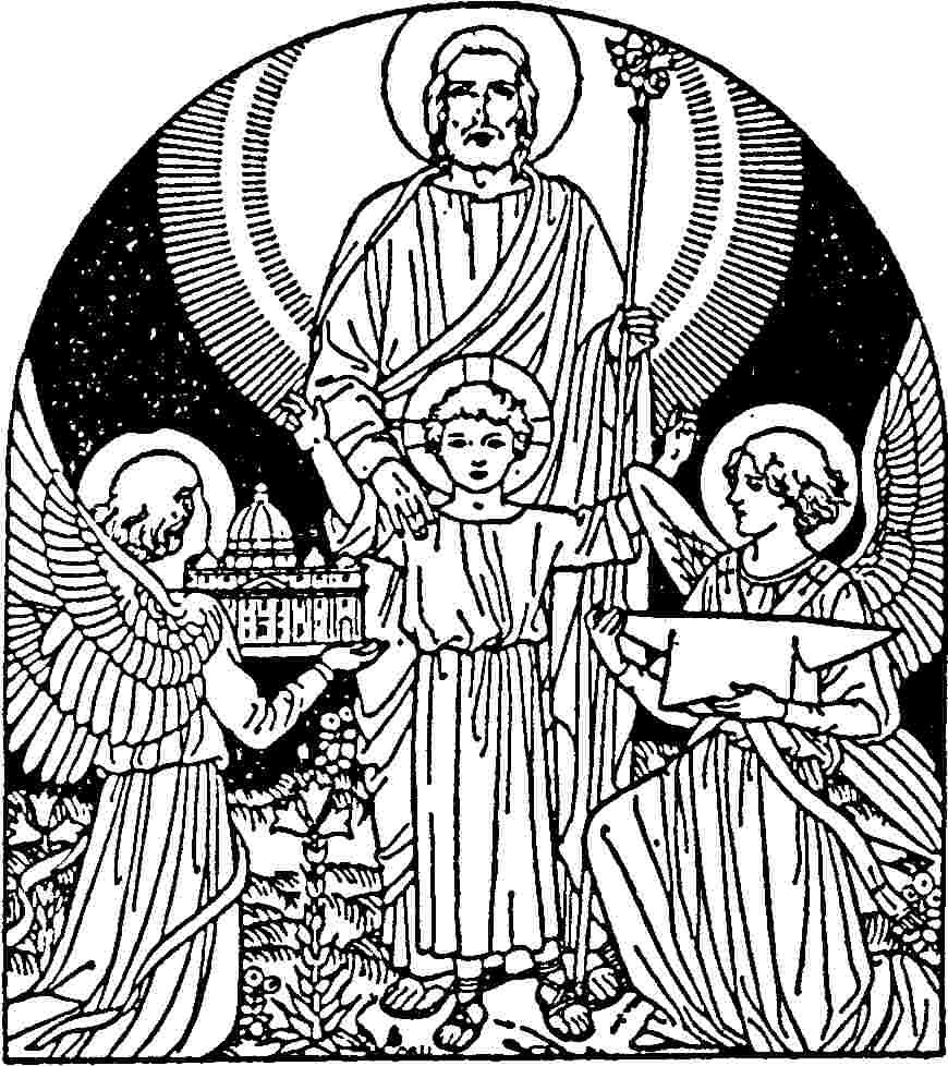File st joseph with the child jesus and angels for St joseph coloring page