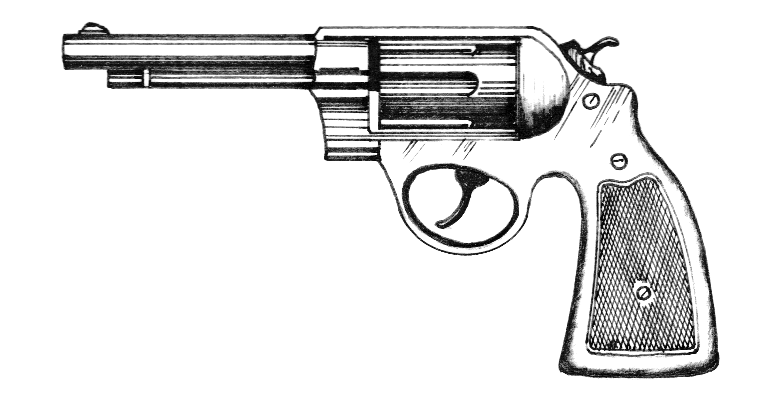 Western Pistols Drawing Revolver 001 Png2616 x 1360