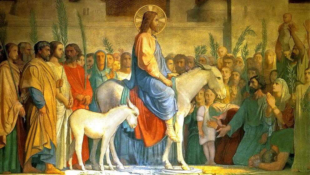 Image result for jesus entering jerusalem on a donkey