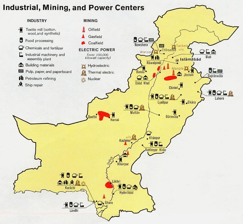 FilePakistan Industry Mining Power Centers Map Jpg The - Maps pakistan