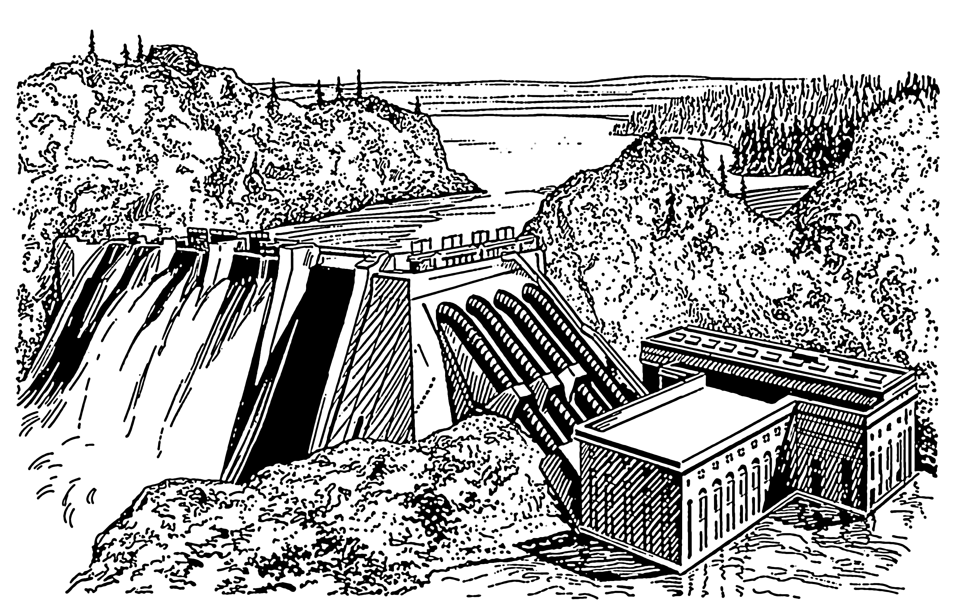 Line Drawing Waterfall : File river with a waterfall and dam the work of