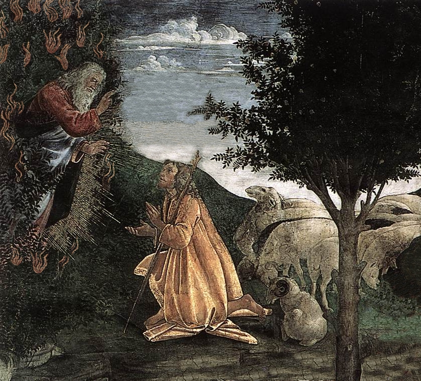 filegod moses and the burning bush scenes from the life of moses botticelli