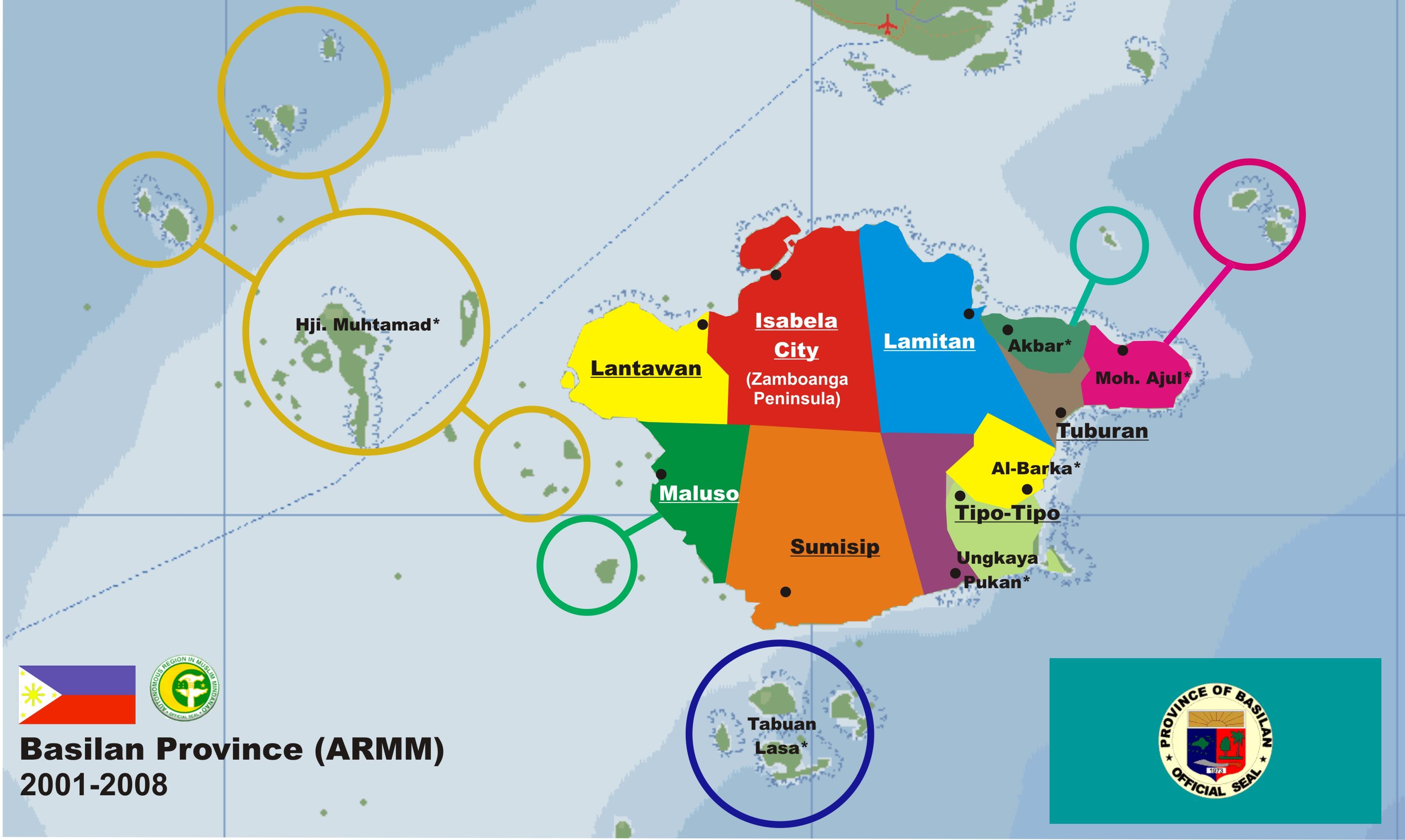 File:Basilan Political Map   2009 A.D.  , Basilan in Mindanao