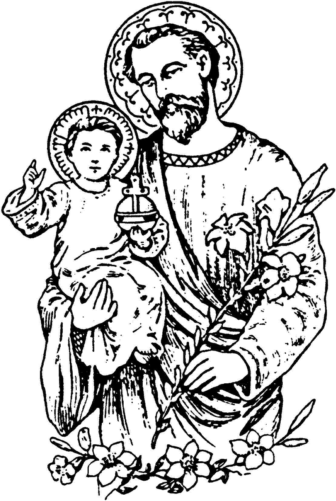 st joseph coloring page file st joseph with child jesus the work of god