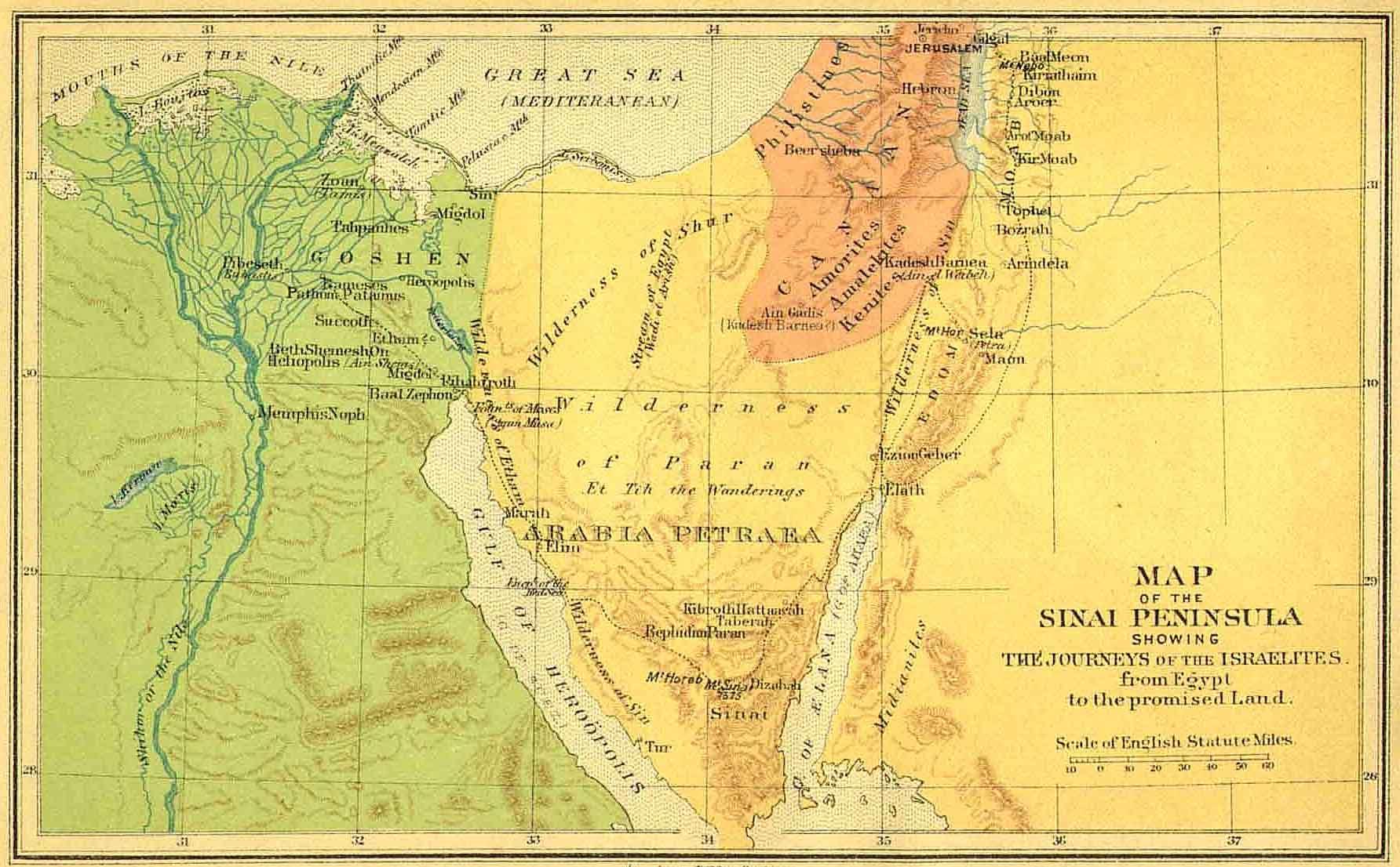 FileSinai Peninsula Israelites From Egypt To Promised Landjpg - Map of egypt canaan