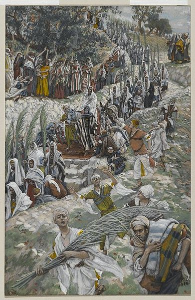 The Procession on the Mount of Olives(Le cortège sur le mont des Oliviers)Matthew 21:1-11Mark 11:1-10Luke 19:28-40John 12:12-18