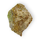 Arthurite on rock Hydrous basic copper iron arsenate Majuba Hill Pershing County Nevada.jpg