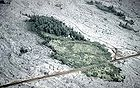 Mature vegetation of a kipuka surrounded by younger lava flows erupted in 1955 Kilauea Volcano.jpg