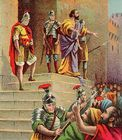 Paul arrested in Jerusalem - Acts 21 40.jpg
