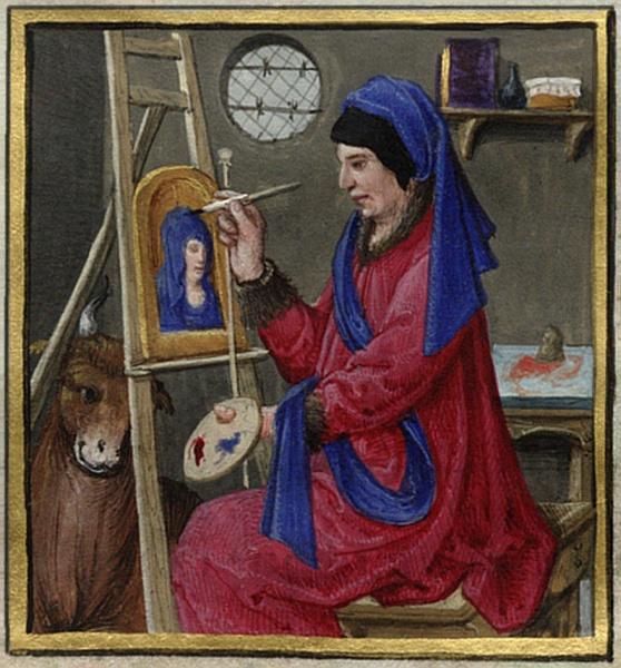 File Book Of Hours Detail Miniature Saint Luke Painting