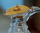 Rock Crystal pitcher with carved Ewer birds and gold filigree lid in Louvre, France 002.jpg